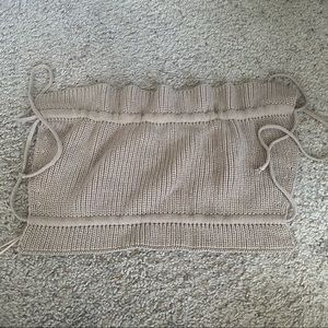nwt tan knitted tie top